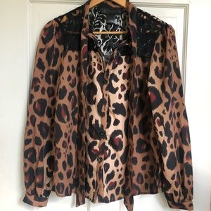 NWT Kardashian Kollection Leopard Print Blouse
